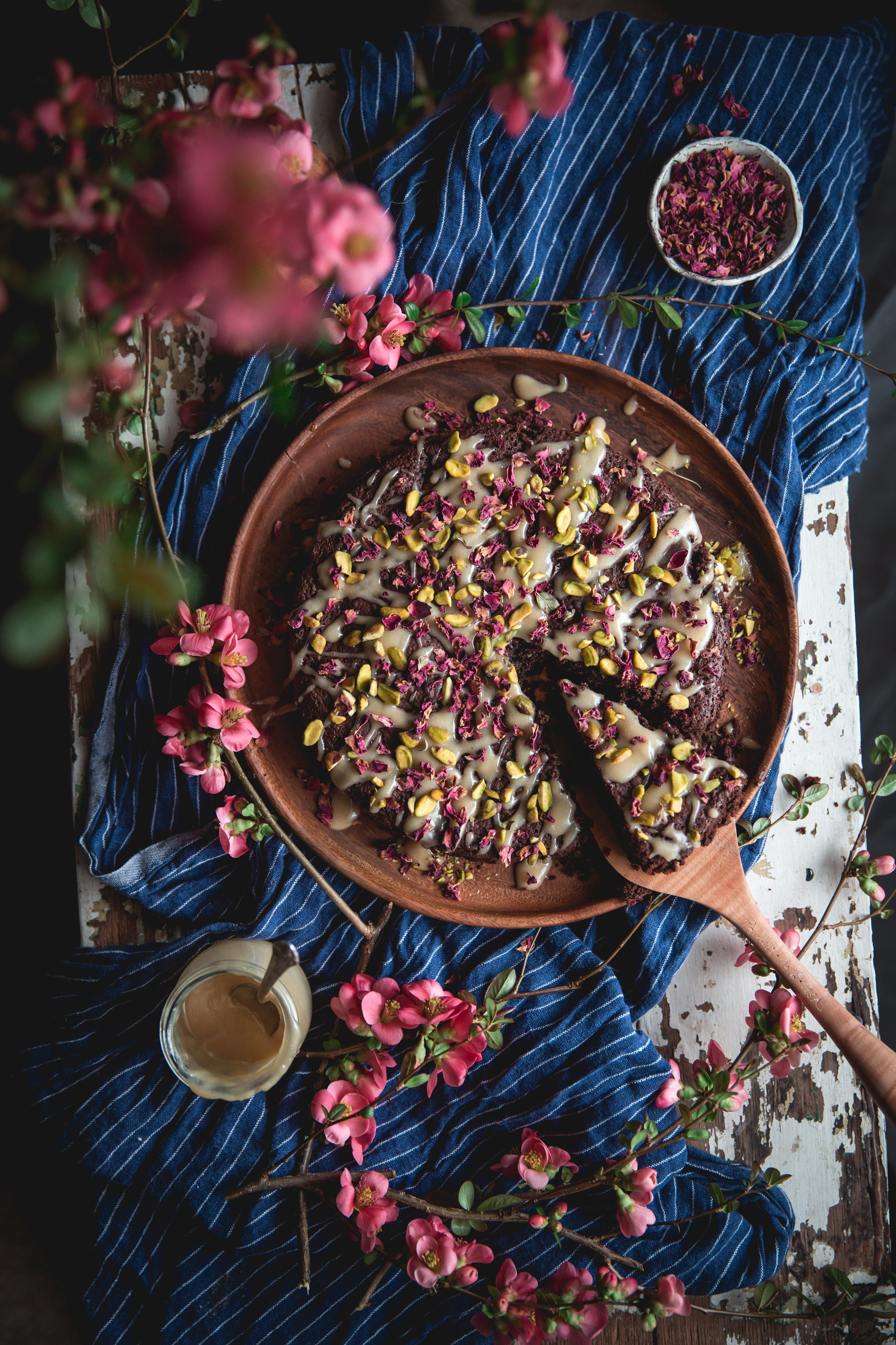 Dark Chocolate Brownie With Tahini And Rosewater Gluten Free Ohhoneybakes Com Baking With Honey Dark Chocolate Brownies Milk Chocolate Recipes