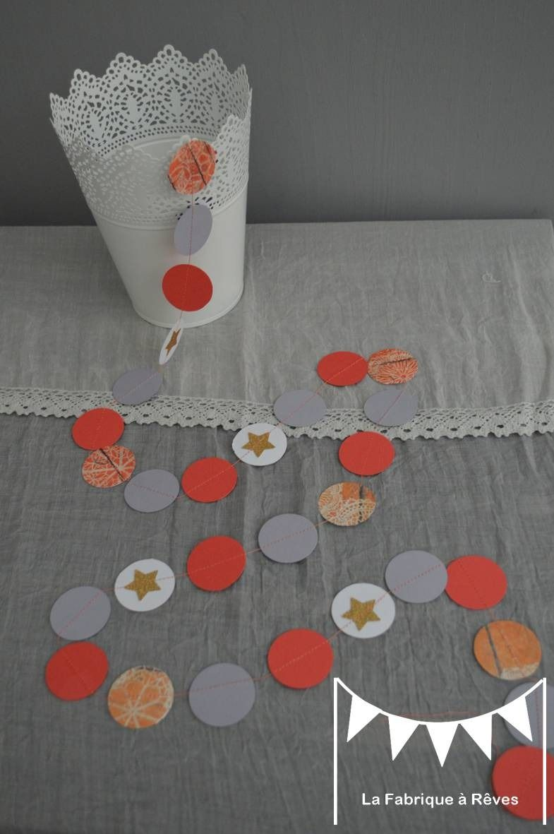 guirlande pastilles rondes toiles corail p che abricot. Black Bedroom Furniture Sets. Home Design Ideas