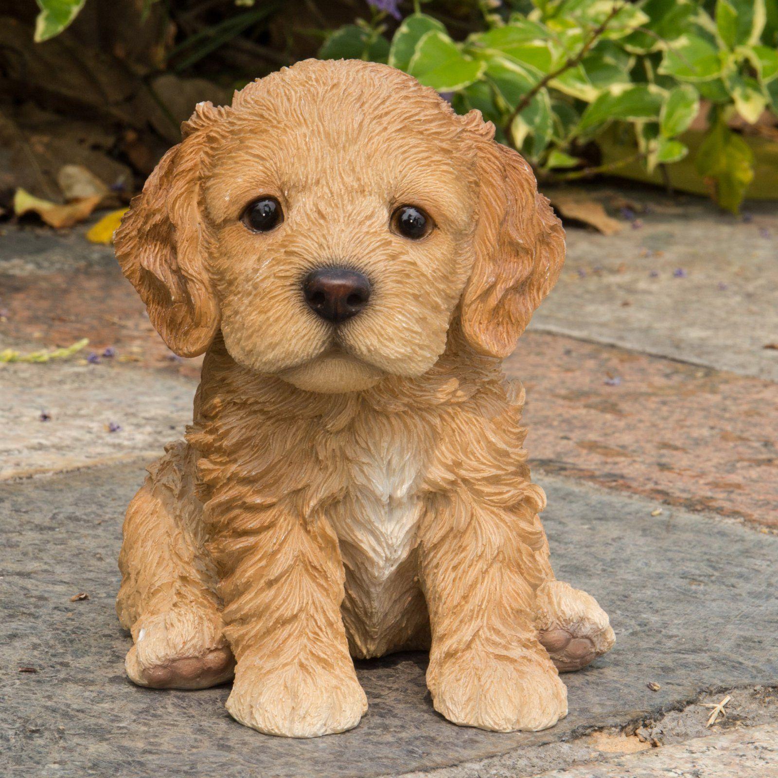 HiLine Gift Ltd. Sitting Cockapoo Puppy Garden Statue