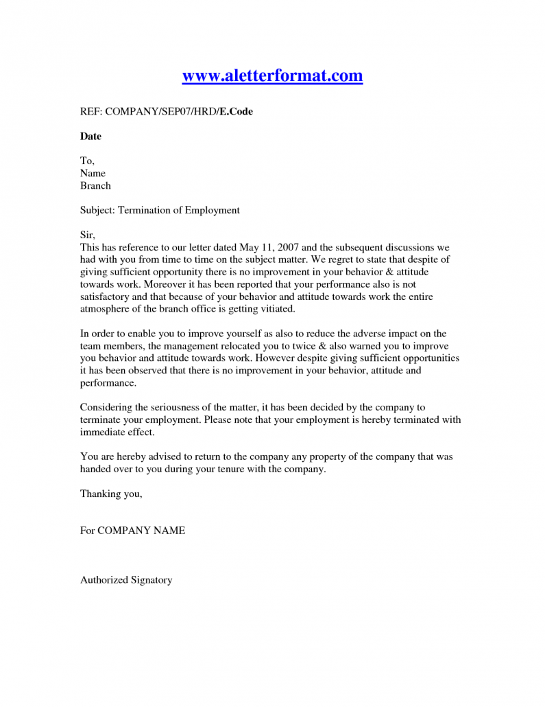 Termination Of Employment Letter  Recruit Online  Affordable