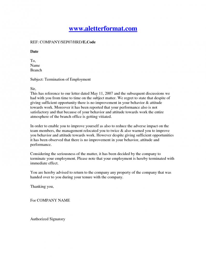 Termination Of Employment Letter Recruit Online