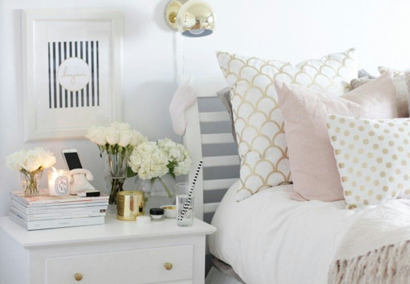 White With Pink Grey And Gold Accents Gold Bedroom Grey And