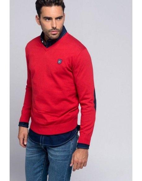 12e23a32c1692 Valecuatro jersey rojo London Jersey Valecuatro hombre modelo London color  rojo. Agradable jersey con cuello de pico