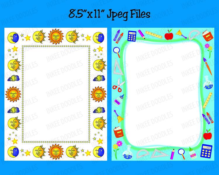 School Kids Certificate Borders Clip Art 8x11 Kids Page Frames ...