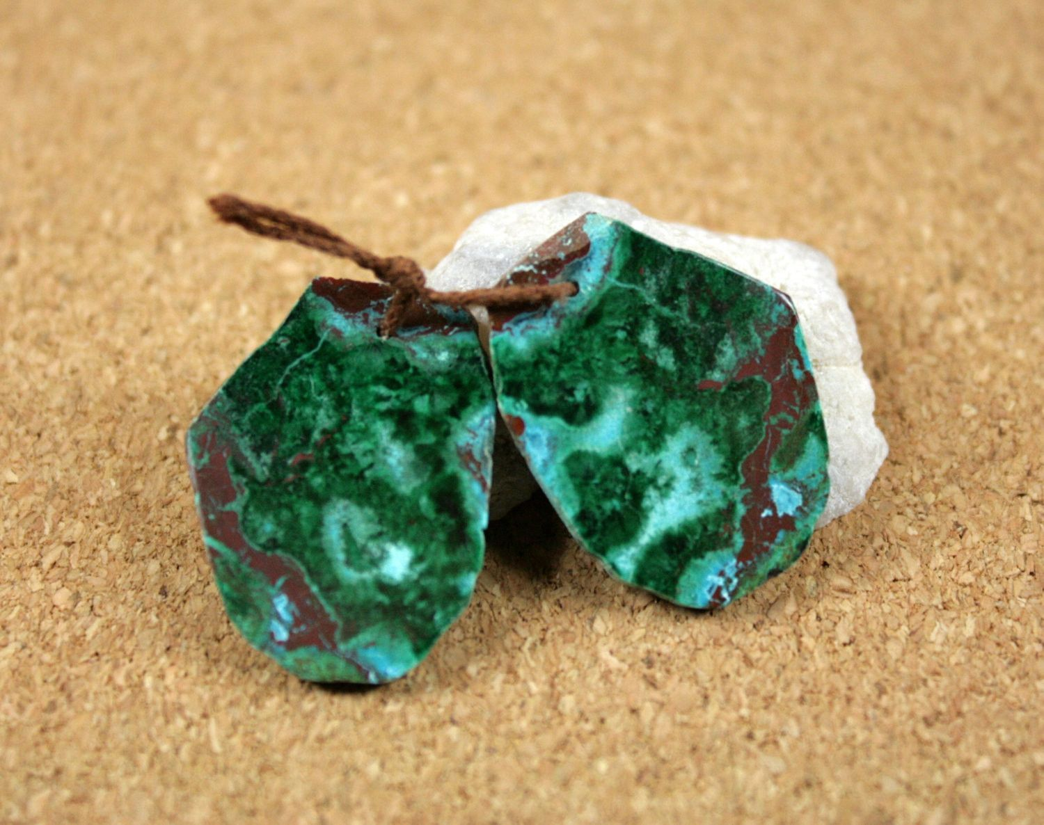 Malachite and Chrysocholla Organic Shape Earring Pair - Green Brown and Light Blue Matched Pair
