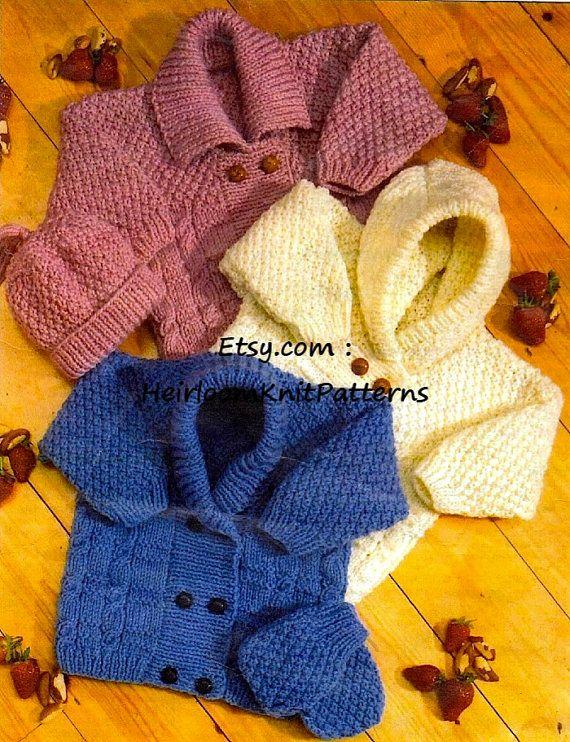 Baby Boys Double Breasted Jacket Sweater Hat Beret KNITTING PATTERN Aran 24-30