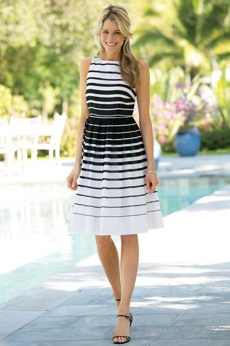 Striped Cotton Fit-and-Flare Dress from Chadwicks Of Boston on Catalog Spree d4a4b370c