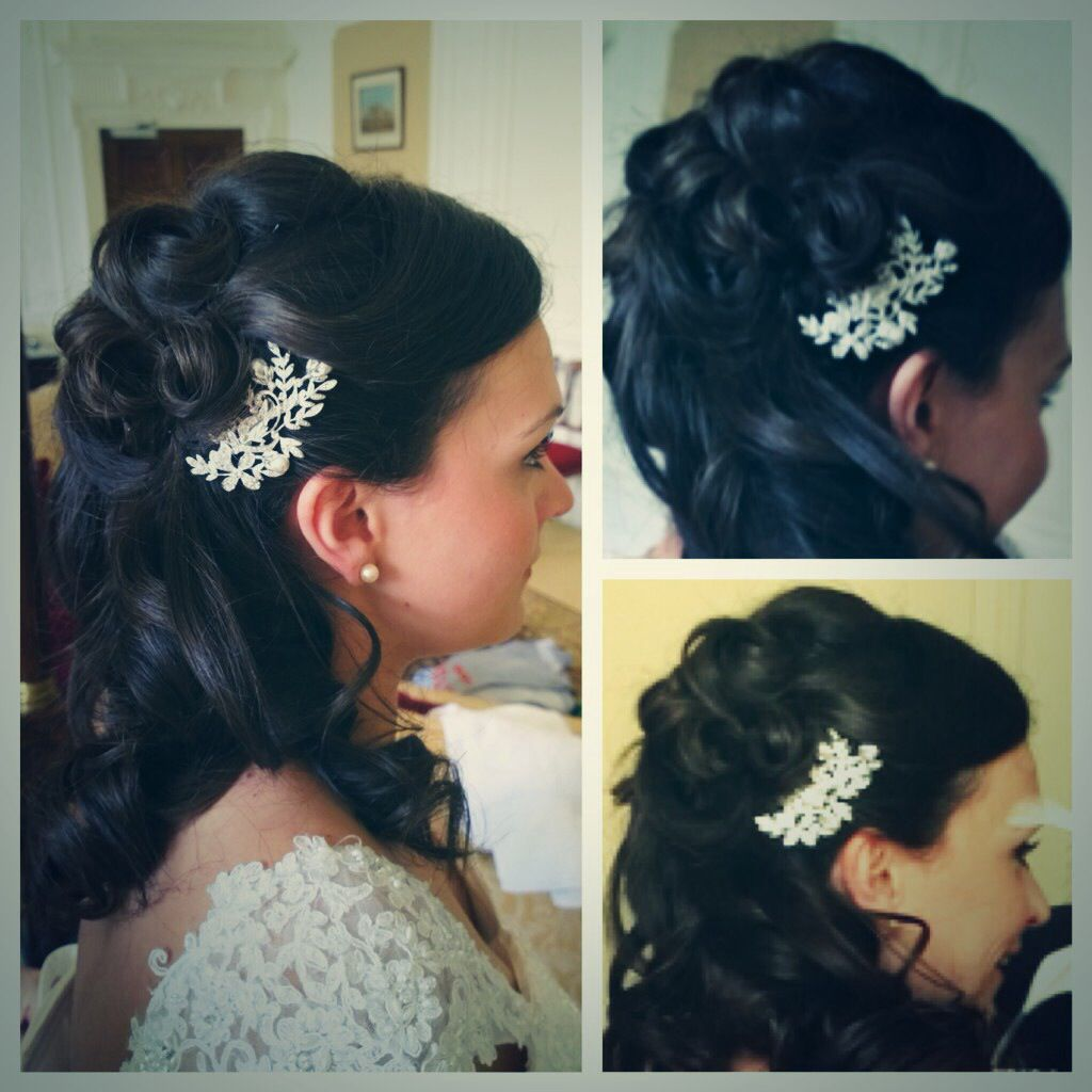 ©EmmaLouiseSatchell  Wedding hair. Brides style. Half up do with curls.