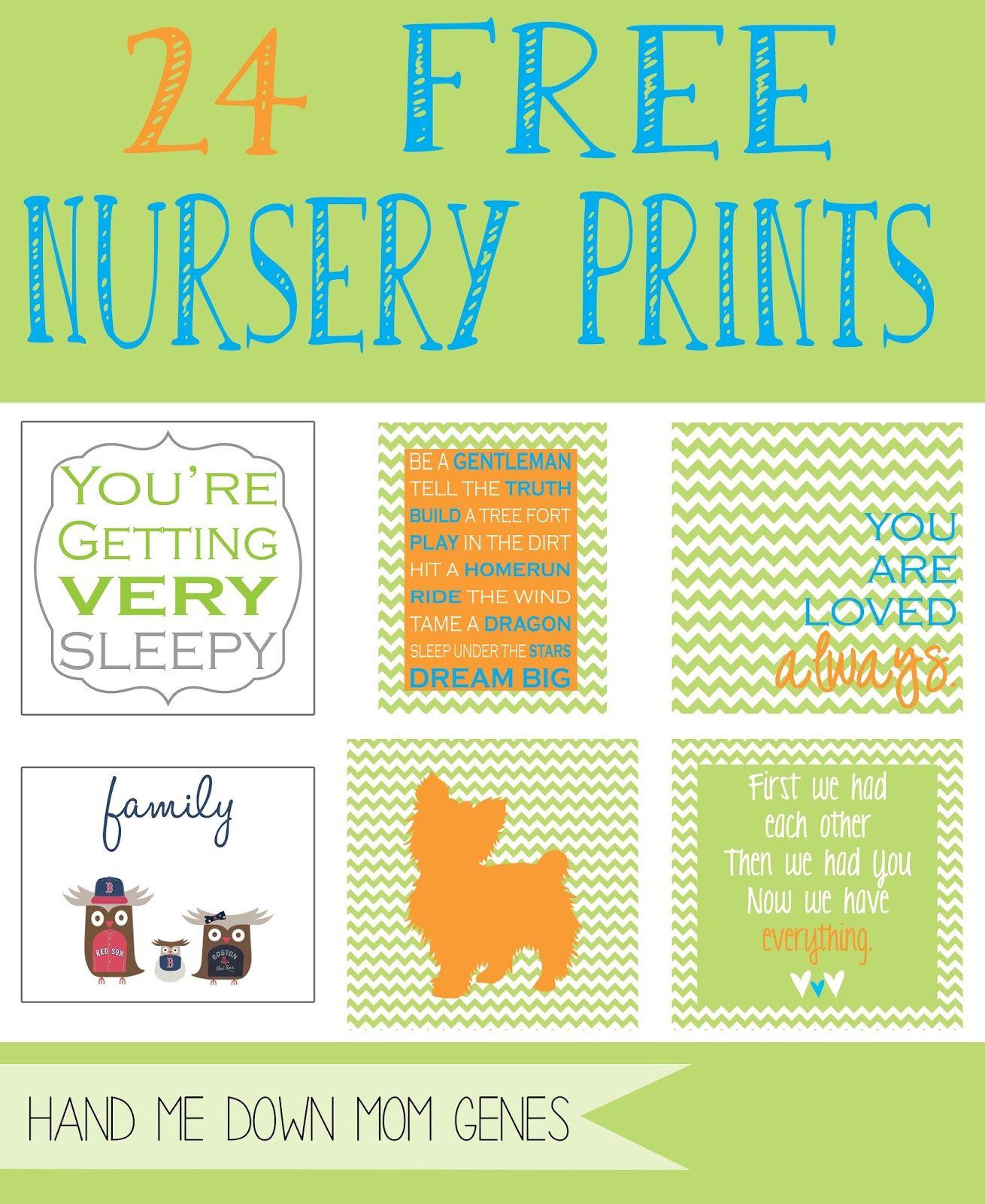 Hand Me Down Mom Genes: Free Nursery Prints Pt. 2 | Home Management ...