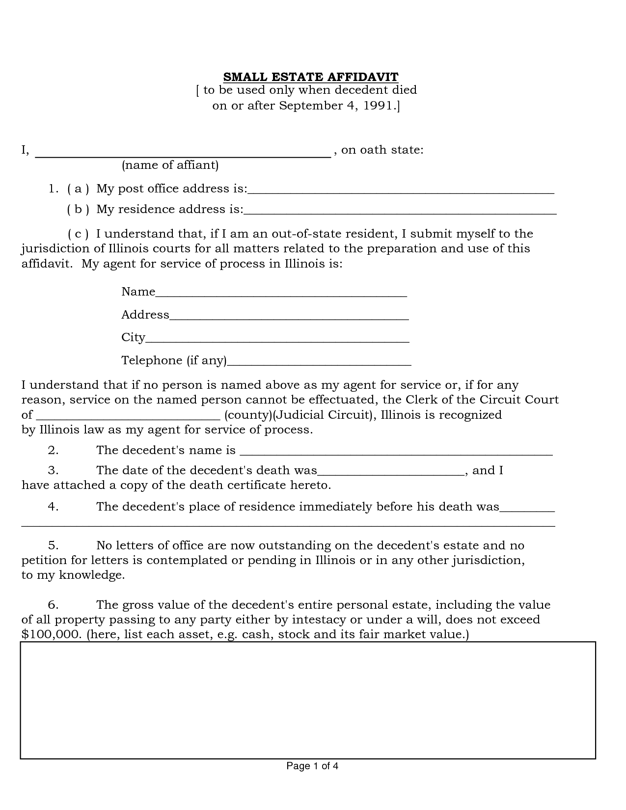 Il Probate Small Estate Affidavit Form by zja10551 small – Generic Affidavit