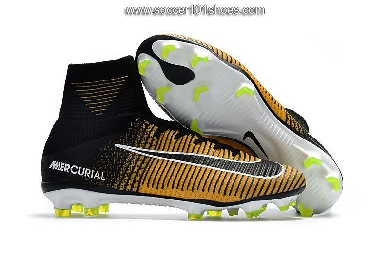 NIke Mens Mercurial Superfly V FG ACC Football Boots Soccer Cleats Yellow  Black  78.00 81e5ed968