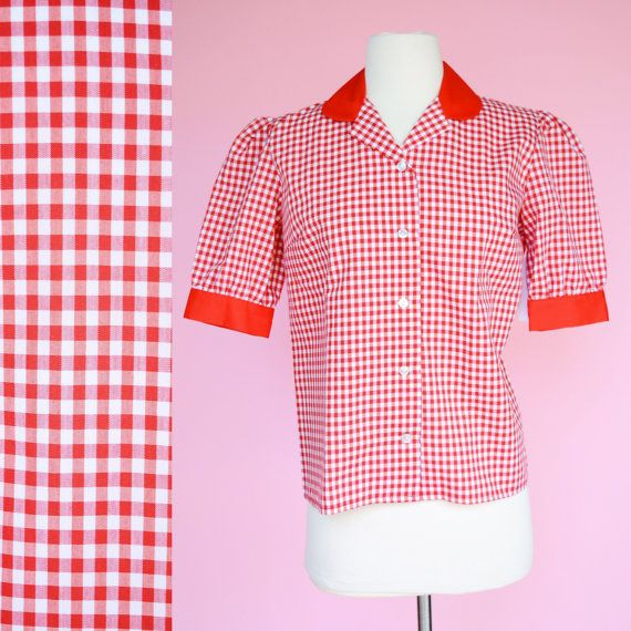 Red Gingham Poolside Pin-Up Top Medium 1950/'s Style