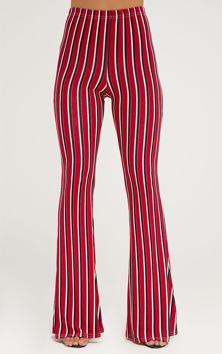 complete range of articles exceptional range of styles crazy price Red Jersey Vertical Stripe Flared Trousers | Products in ...
