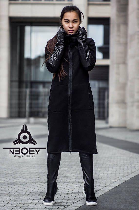 6b575080b3b cyberpunk Long jacket SEIFUKU byNEOBY, equipped with inserts of modern  raincoat material.dark style