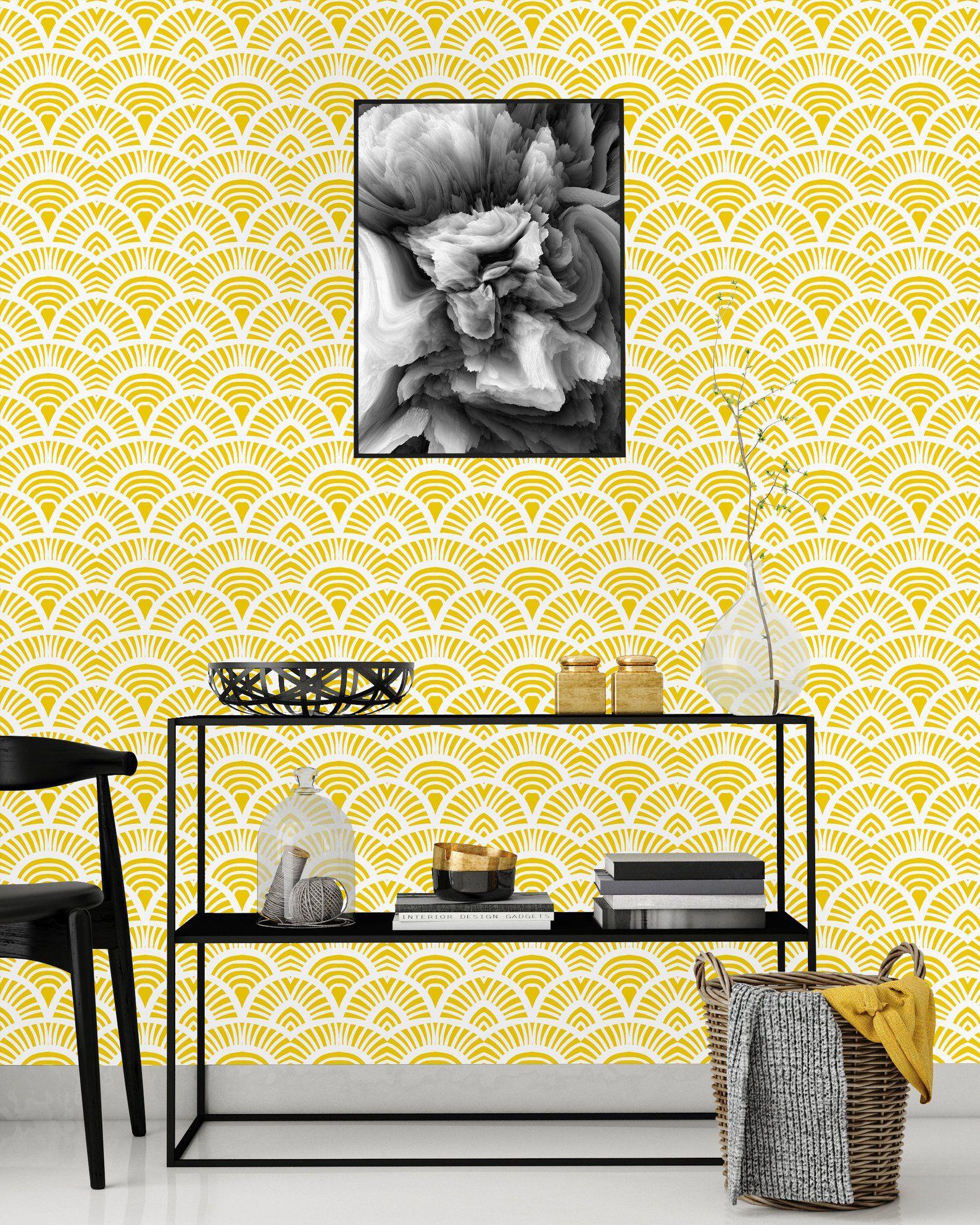 Yellow Geometric Print Removable Wallpaper Peel Stick Mural Nursery Decor Self Adhesive Wallpaper Peel And Stick Wallpaper Wallpaper Panels Nursery Mural