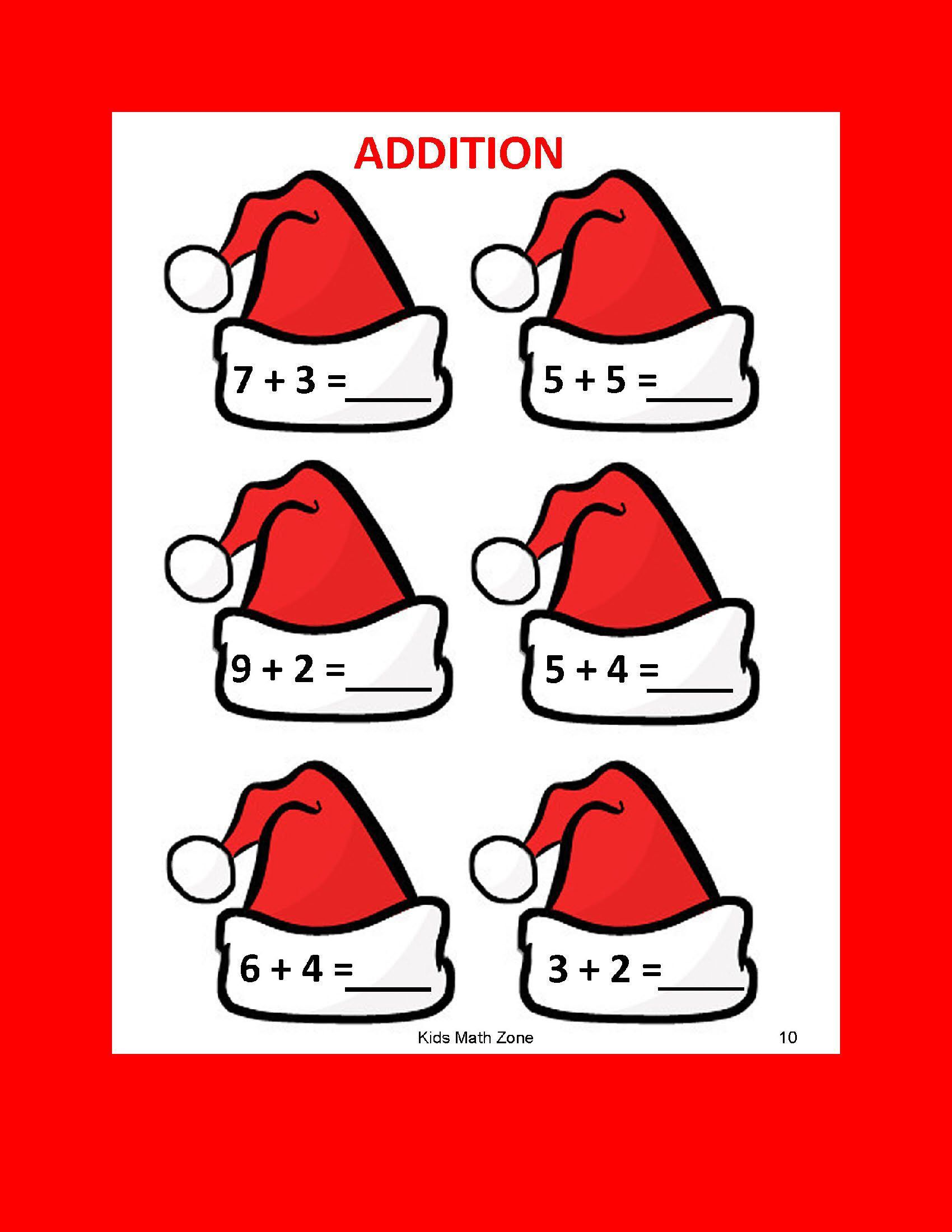Santa Hat Addition A 12 Worksheets Preschool