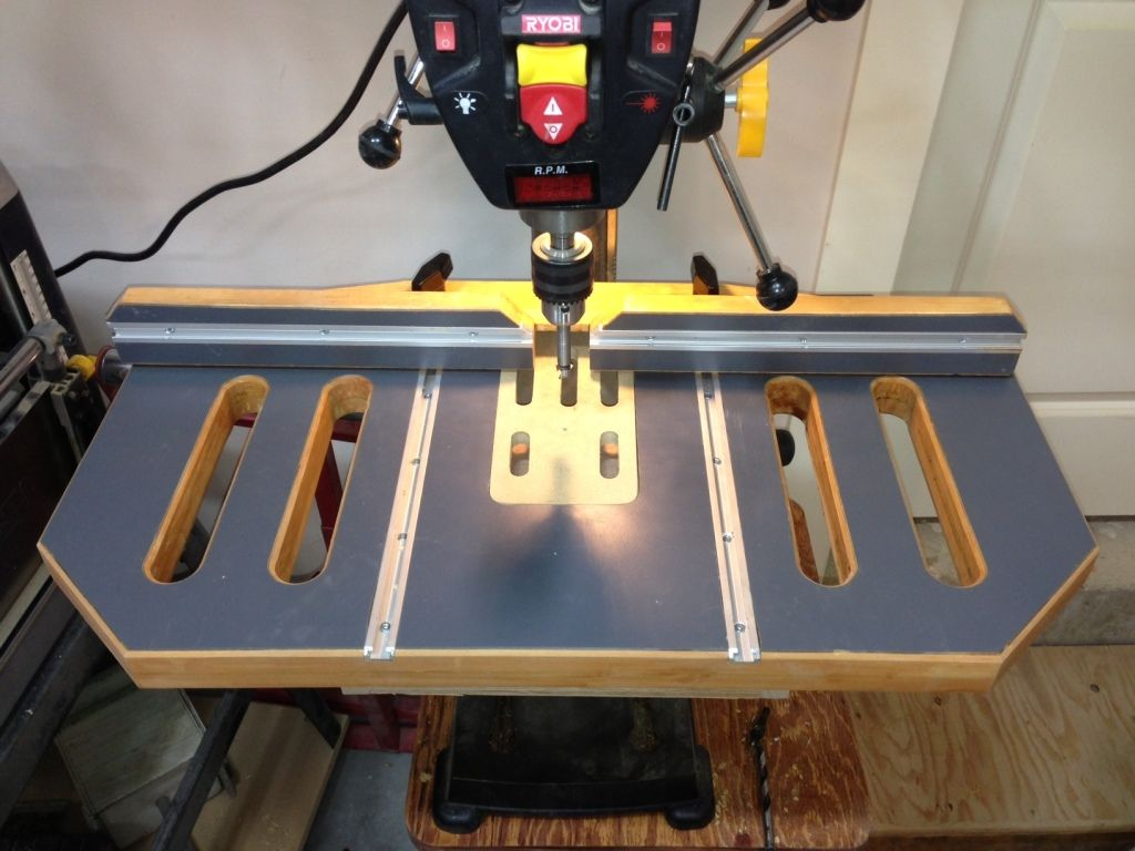 Post it note as a collector while drilling - Drill Press Table Finished