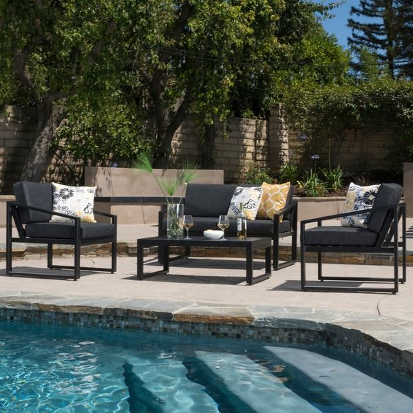 Christopher Knight Home Navan Outdoor 4-piece Aluminum Chat Set with ...