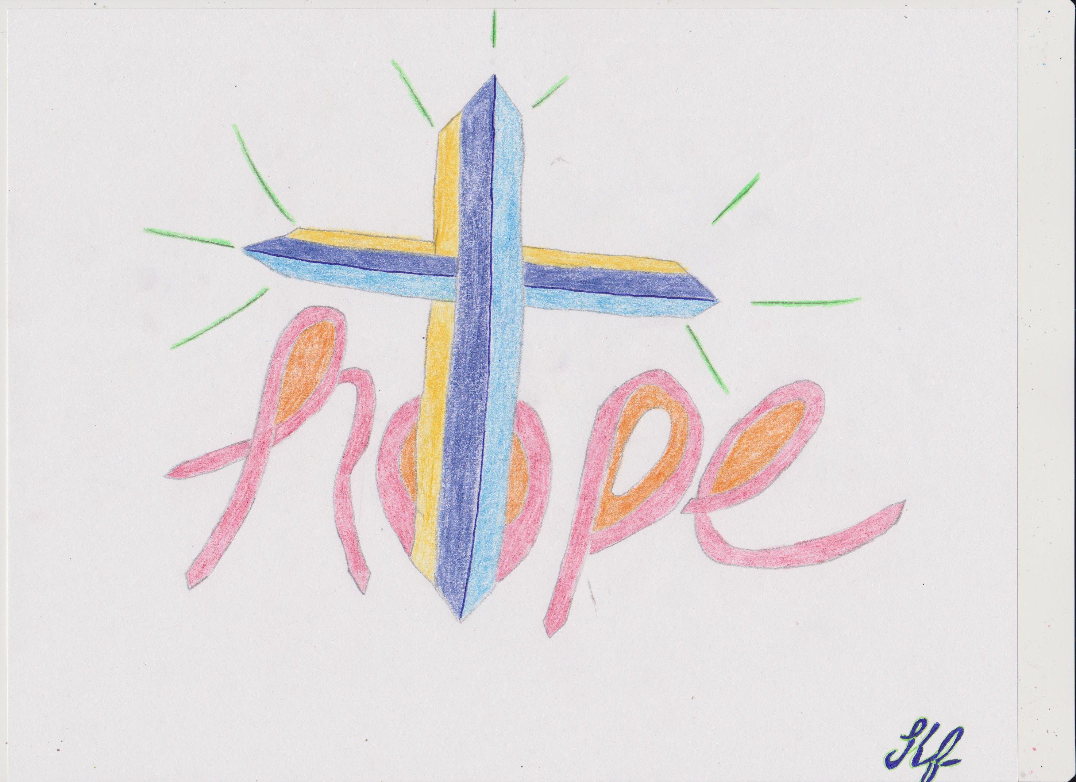 ( HOPE ______ With CROSS ) Graffiti ART ------By Kimberly F