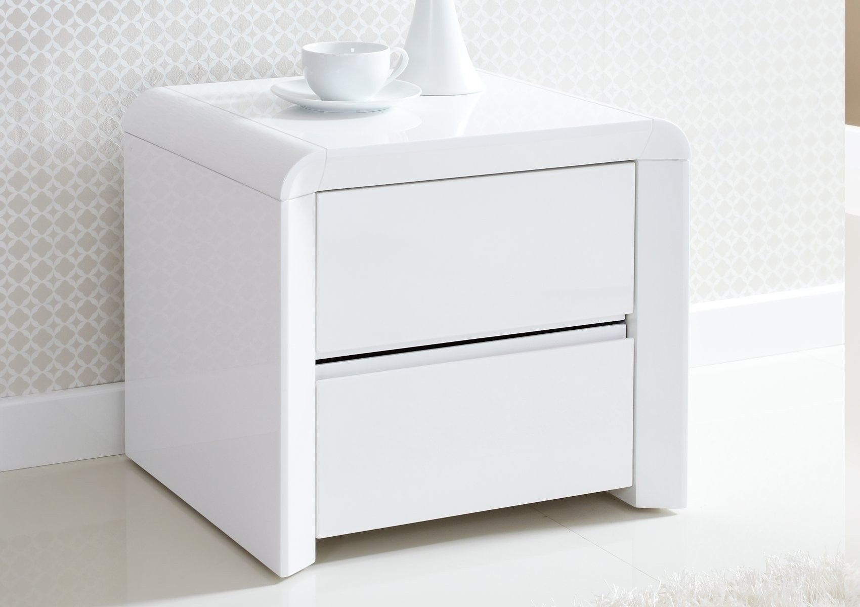 Jacks Room Ice High Gloss 2 Drawer Bedside White To Match Dressing Table Reduced