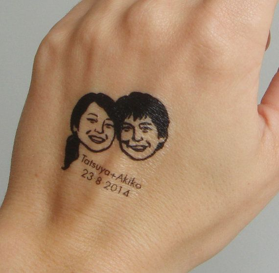 Temporary tattoo / custom couple portrait / for by lilimandrill