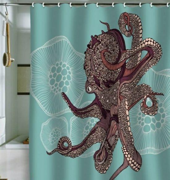 origineller Duschvorhang Krake grüne Farbe Design Ideen | kaufen ...