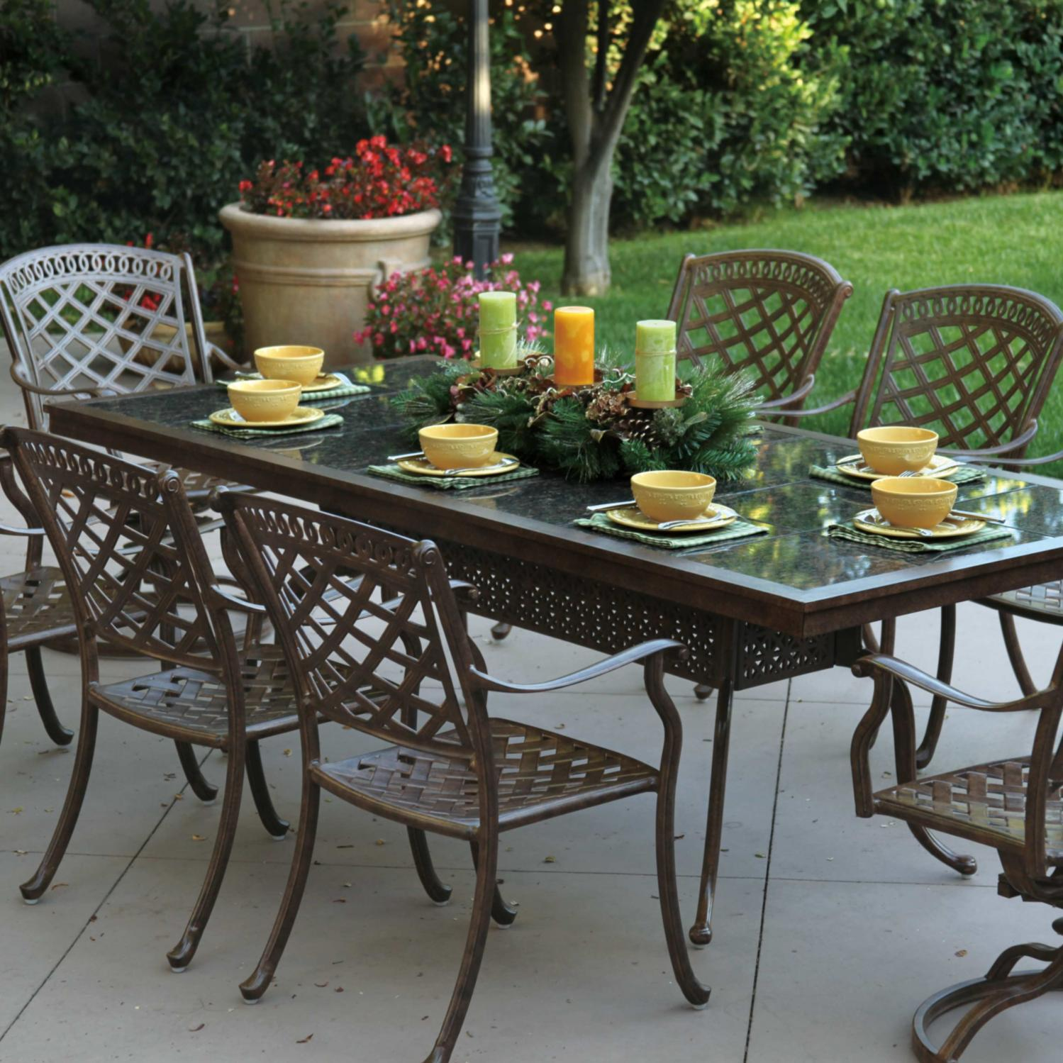 Darlee Sedona 9 Piece Cast Aluminum Patio Dining Set With Rectangular Granite Top Table Mocha Brown Tile Ultimate