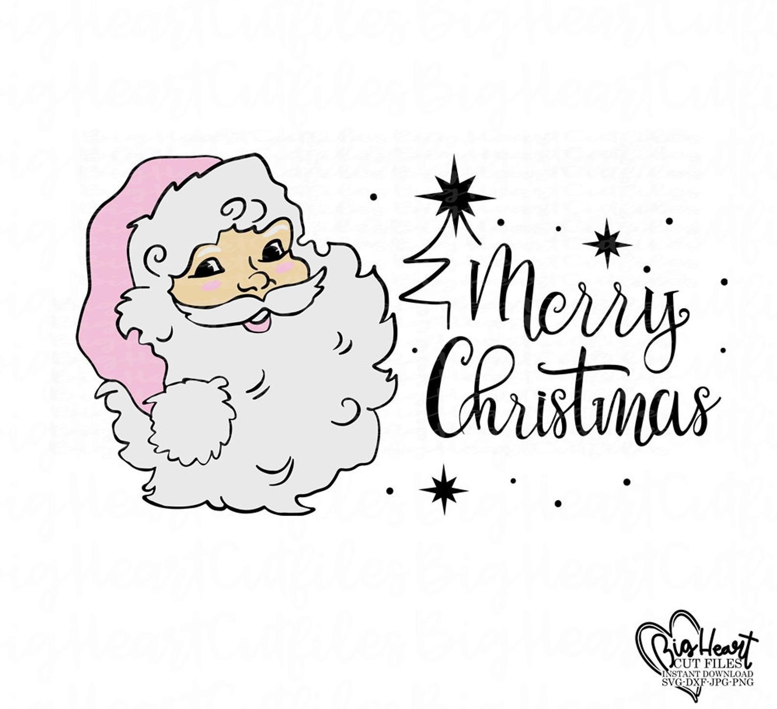 Santa Claus Svgsanta Face Svgpngjpgdxfsanta Head Etsy Santa Face Vintage Santas Christmas Svg