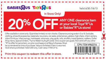 graphic relating to Printable Toysrus Coupons referred to as Toys R Us Coupon: 20% off Clearance Products! Nails ! Absolutely free
