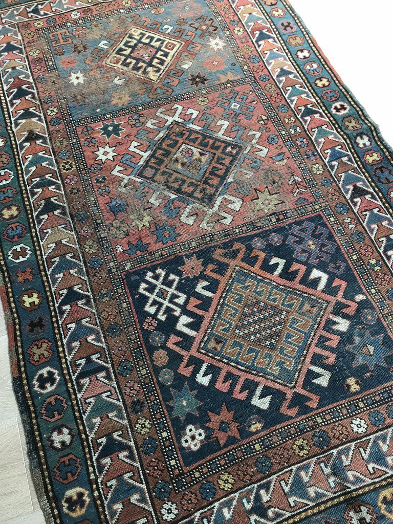 No 0172 Beautiful Caucasian Kazak Faded Green Blue And Red Tribal Design Rug Red Tribal Tribal Design Blue Green