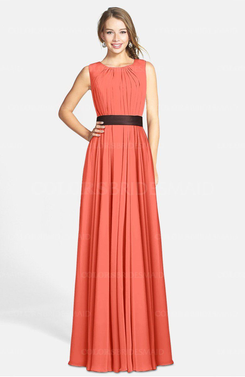 a04b2b10ccde Living Coral Glamorous Sleeveless Zip up Chiffon Floor Length Ruching Bridesmaid  Dresses on sale at colorsbridesmaid.com. It's A-line, Chiffon, Floor Length  ...