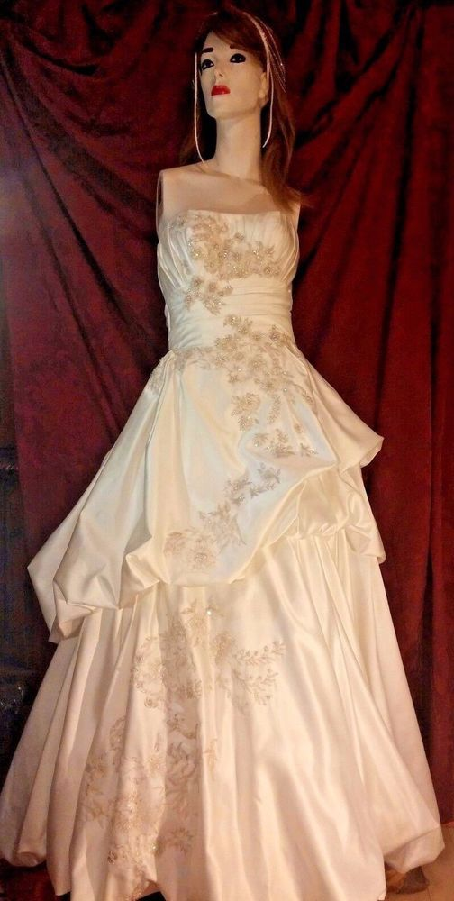 Oleg Cassini Womens Wedding Gown Soft white Beaded Sequins Pearls ...