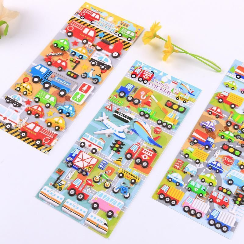 24 Pcs Lot Vehicle Sticker Pvc And Foam Material 3d Ambulance Car Airplane Stickers Scrapbooking Kids Scrapbook Scrapbook Stickers Stickers