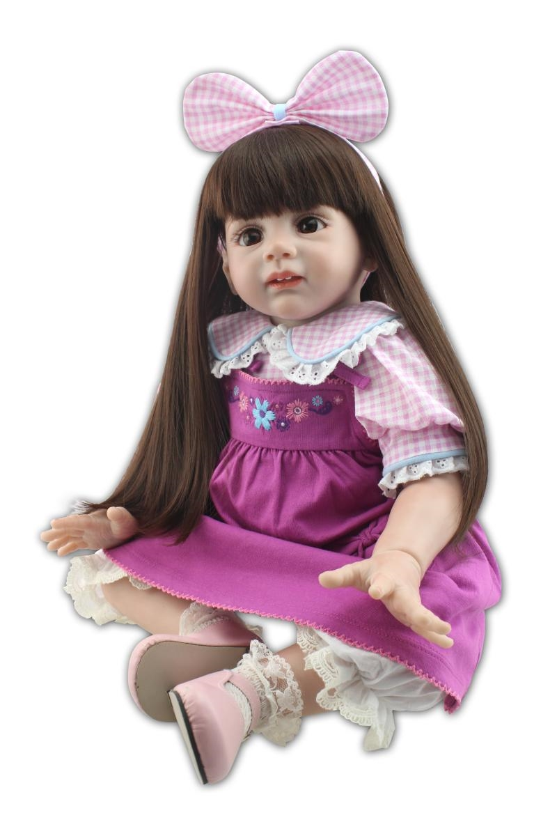 129.26$  Watch now - http://ali3st.shopchina.info/1/go.php?t=32474544289 - Lovely 60CM silicone reborn baby dolls/reborn toddler girl dolls best toys for children 3 years above  #buyininternet