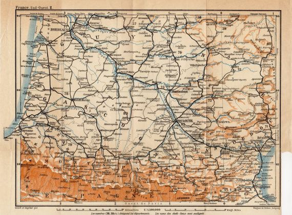 Map Of France Gascony.1914 France Antique Map Southwest Gascony Gascogne By Craftissimo