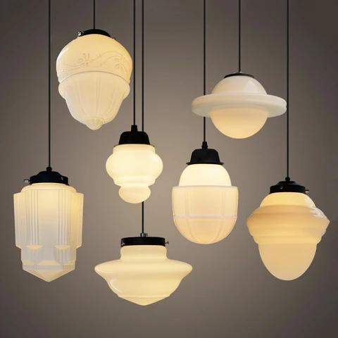 Photo of Art deco milk glass pendant light