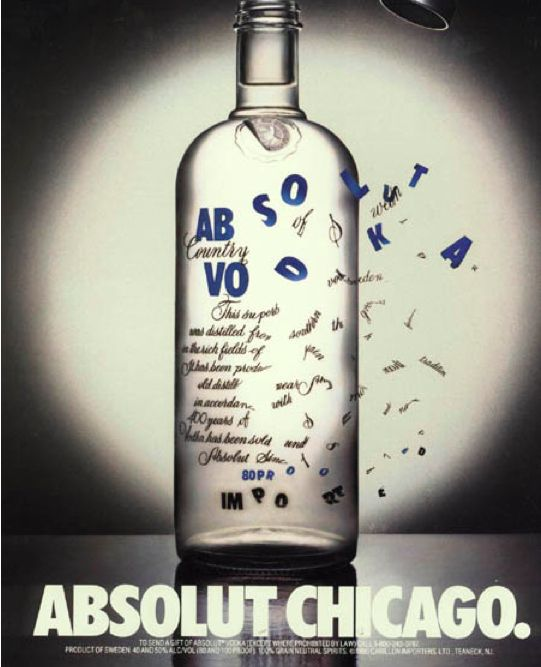Creative Absolut Vodka Ads. Love this one--Chicago, the windy city