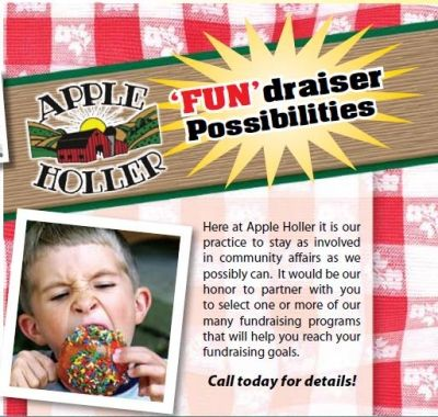 Fundraisers | Apple Holler  We love to stay involved in the community.  Let us help you with your next FUNdraiser!