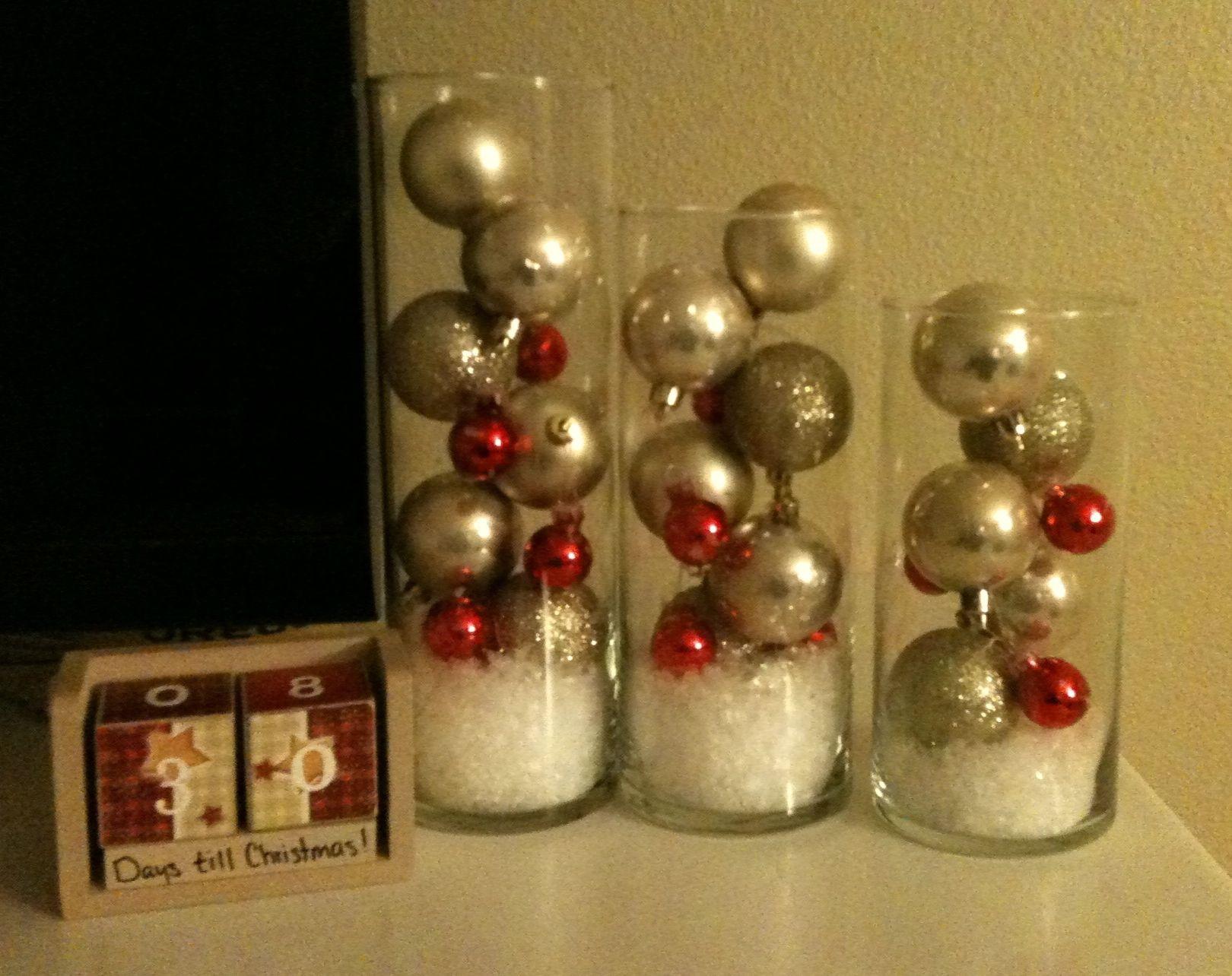 Dollar store christmas bulbs fake snow and left over cylinder dollar store christmas bulbs fake snow and left over cylinder vases from the wedding reviewsmspy