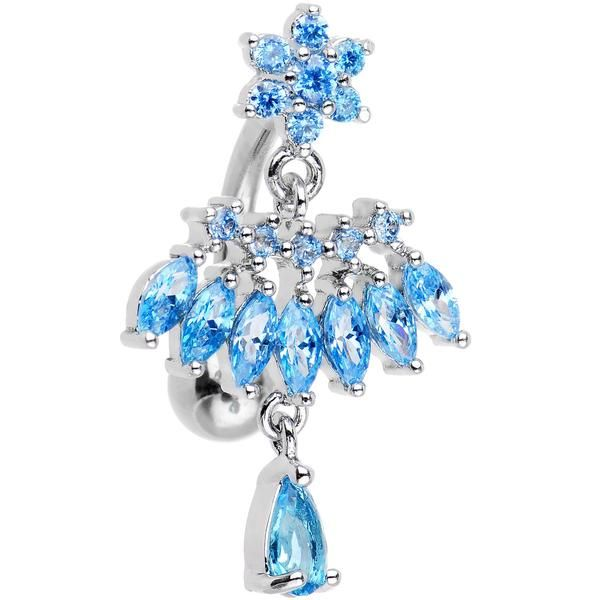 Aqua cz chandelier top mount dangle belly ring dangle belly aqua cz chandelier top mount dangle belly ring mozeypictures Gallery