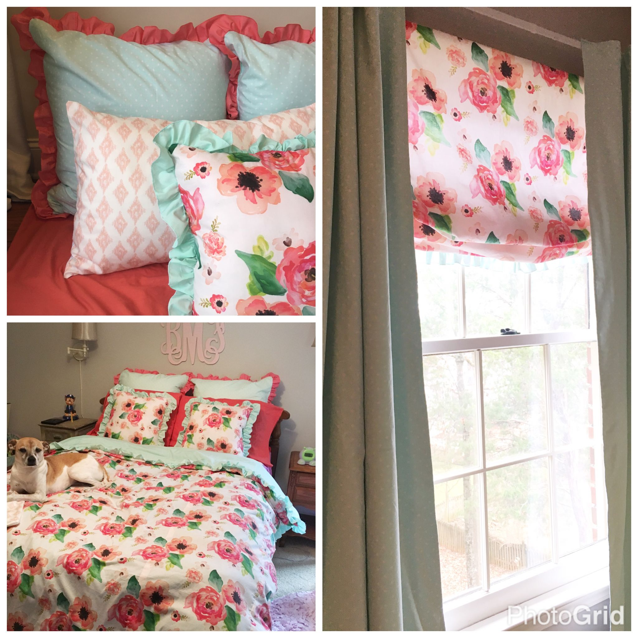Little Girl Room Coral Watercolor Floral Bedding Roman Shade And