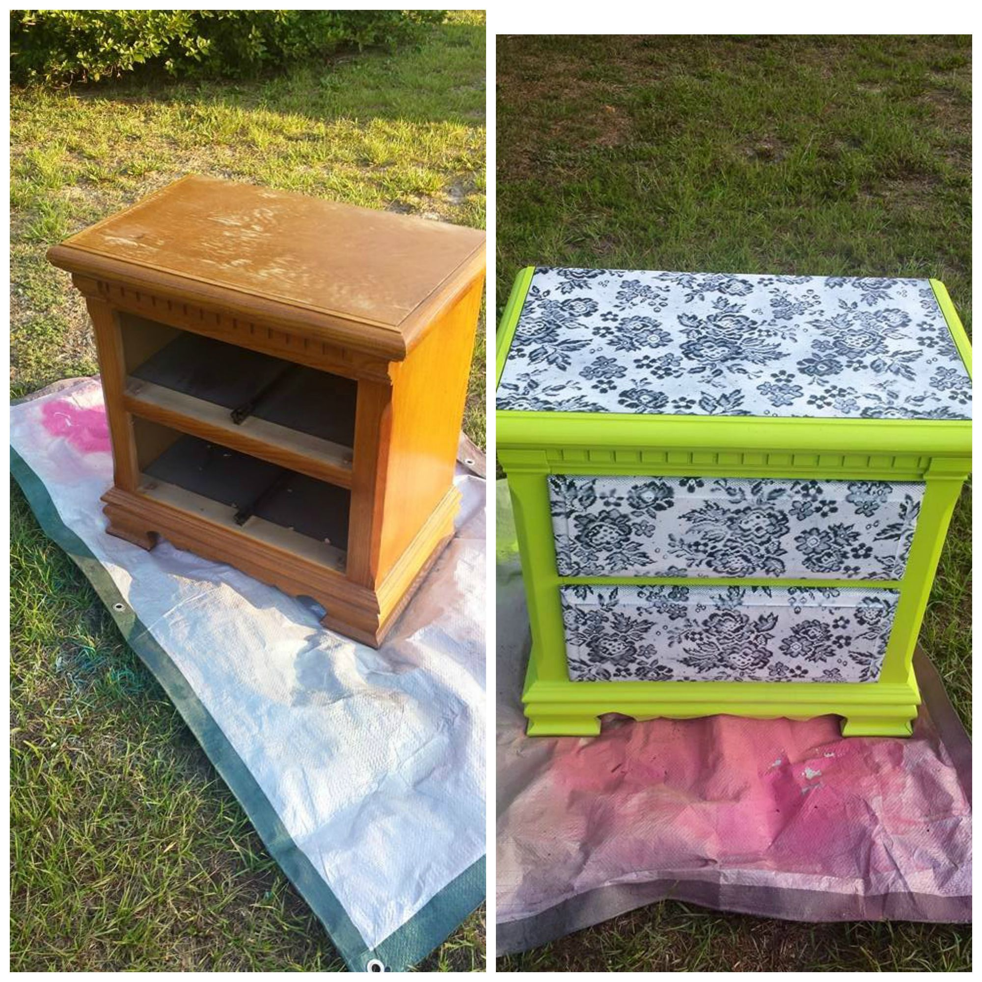Ugly old bedside table before and after I painted it using lace for the top and drawers