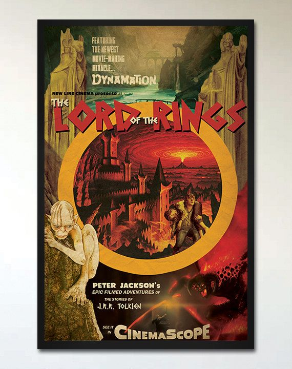 lord of the rings retro movie poster inspired by 1960s fantasy movie posters lotr. Black Bedroom Furniture Sets. Home Design Ideas