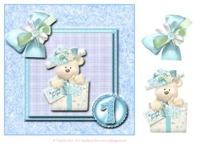 8x8 Blue Birthday Bear 1st Birthday with decoupage on Craftsuprint designed by Pamela West - 8x8 Blue Birthday Bear for a 1st Birthday. Other numbers available and I have blue designs too. Send me a message in the forum if you would like a specific number - Now available for download!