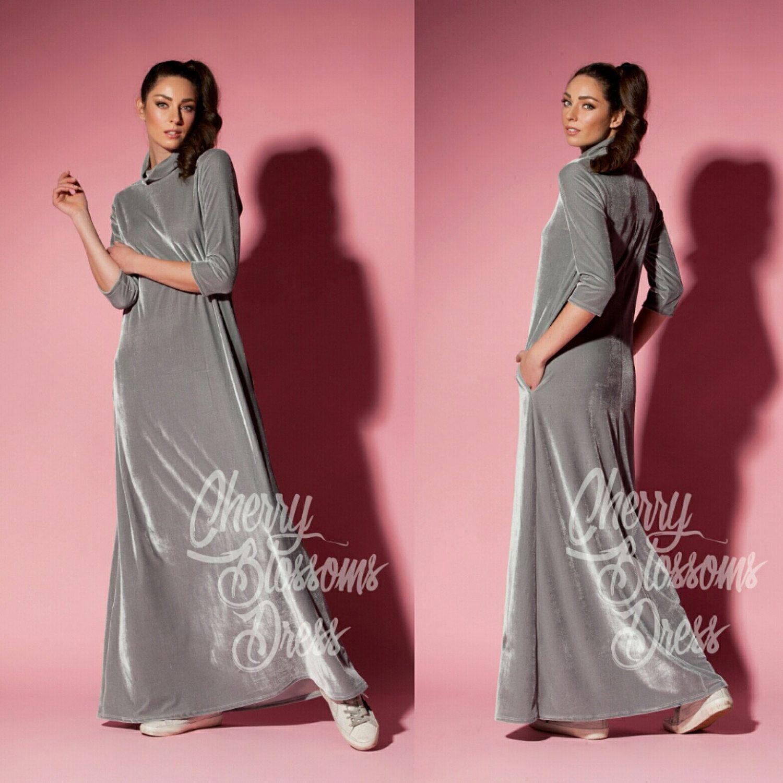 Grey Velvet Dress / Maxi dress with sleeves/ Long Sleeve Maxi Dress ...