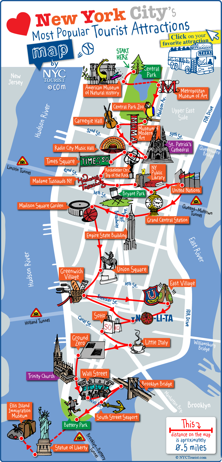 Map Of Nyc Attractions Tourist map of New York City attractions, sightseeing, museums