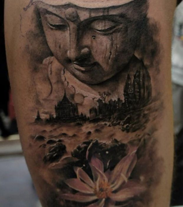 tatouage bouddha et fleur de lotus tatouage bouddha. Black Bedroom Furniture Sets. Home Design Ideas