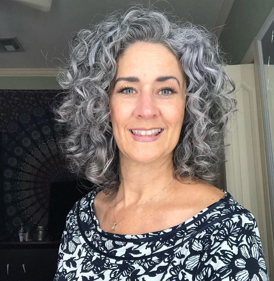 Tina Clark On Instagram Hair Tool Must Check Out The Denmanbrush I Was Skeptical At First Well Act Grey Curly Hair Hair Styles Grey Hair Inspiration