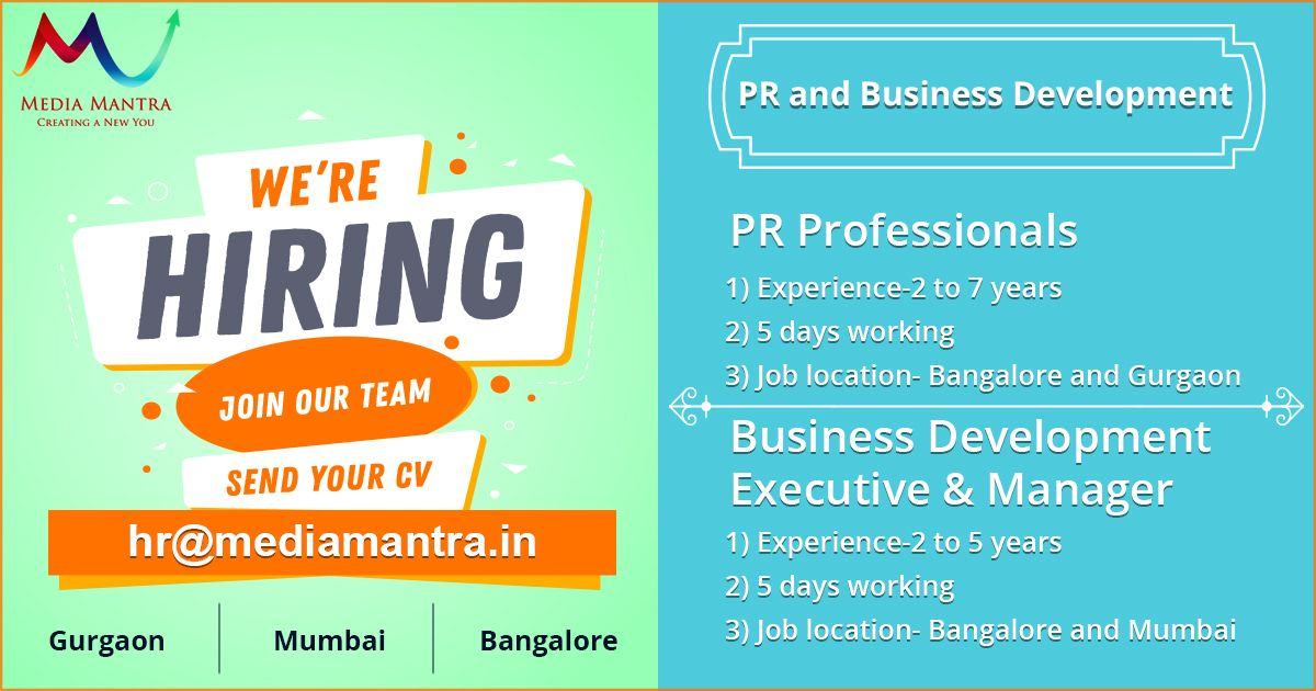 Media Mantra is hiring PublicRelations and