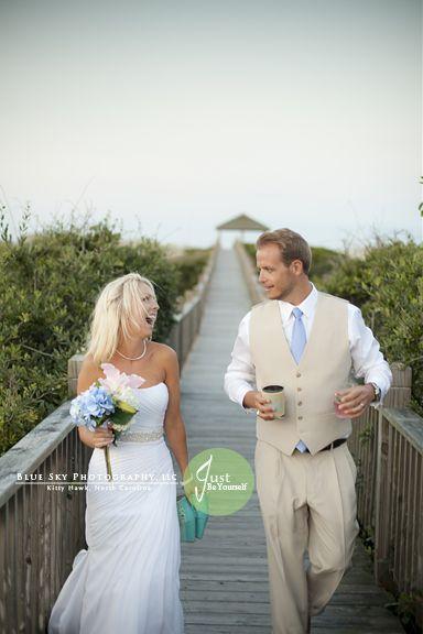 boardwalk, beach bride wedding at The Mark Twain House by Twiddy in Corolla, NC